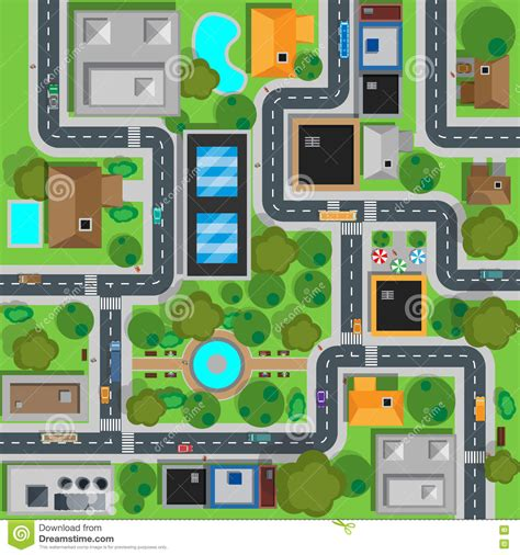 best view map map of city top view design flat stock vector image