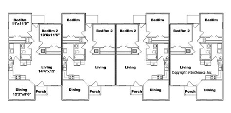 4 plex townhouse floor plans 4 plex apartment floor plans 4 plex j949 4 plansource inc