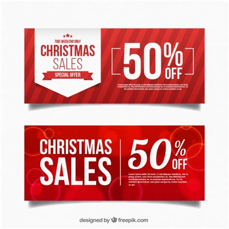 discount holiday vouchers abstract red discount christmas banners vector free download