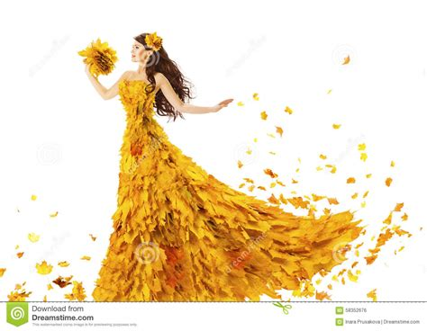 45215 White Autumn Leaves S M L Dress Le180118 Import autumn fashion dress of fall leaves model in yellow stock photo image 58352676