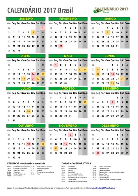 As Calendario Calend 193 2017 Para Imprimir Feriados