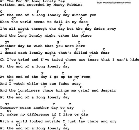 s day ending song at the end of lonely day by marty robbins lyrics