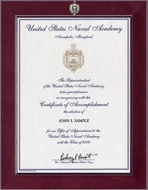Certificate Frame Us Letter United States Naval Academy Century Masterpiece Acceptance Certificate Frame In Cordova Item