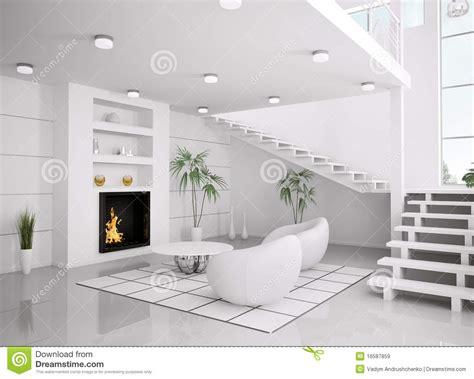 modern white interior of living room 3d render stock