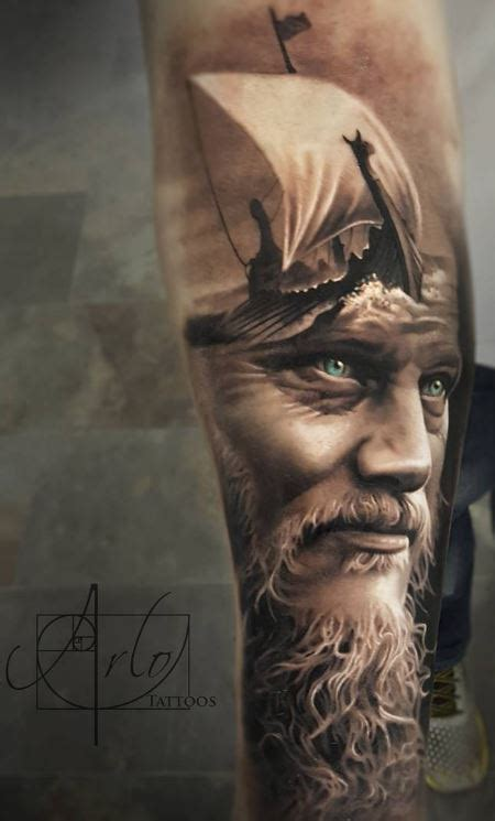 amazing king ragnar tattoo inkstylemag