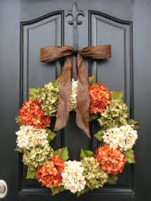 fall hydrangea front door wreath by two inspire you contemporary wreaths and garlands by etsy