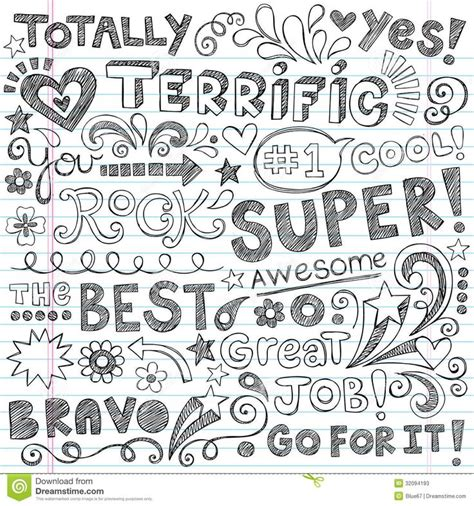 doodle font terrific work praise phrases sketchy doodle encour stock