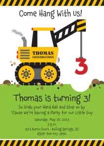 crane construction truck birthday party invitation by