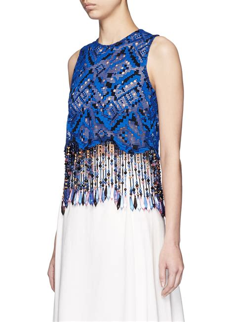 blue beaded top msgm bead fringe embroidered lace sleeveless top in blue
