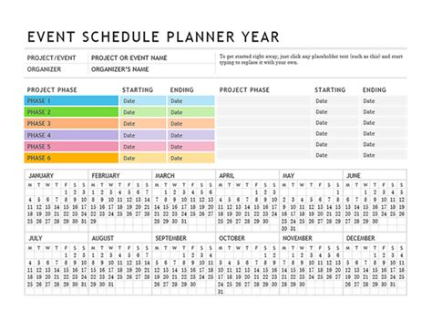 Event Planner Event Staff Schedule Template