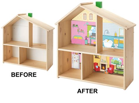 ikea dolls house background stickers for ikea flisat wooden doll house wall shelf cut to size ebay