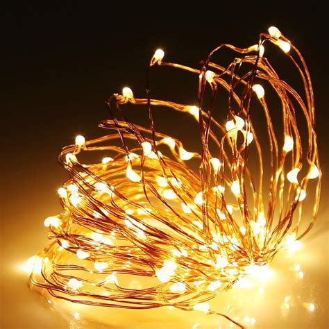 copper wire led lights 100 warm white led 10m copper wire micro battery