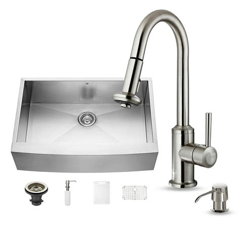 Farmhouse Faucet Kitchen Vigo All In One Farmhouse Apron Front Stainless Steel 33 In 0 Single Basin Kitchen Sink
