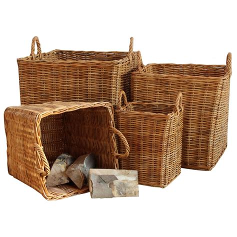 Fireplace Baskets by Honey Rattan Square Wicker Log Basket Fireplace Wood