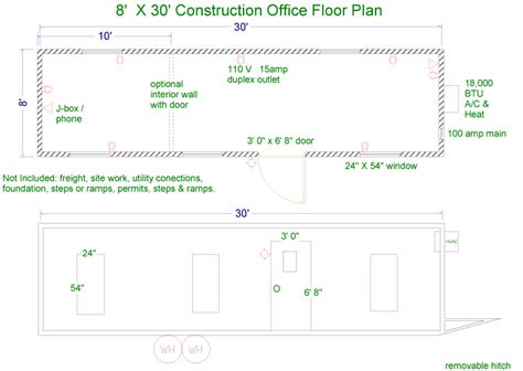 job layout of building floor plans for jobsite trailers
