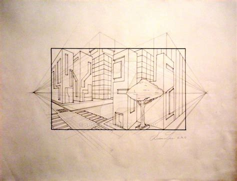2 Drawings In 1 by 2 Point Perspective Drawing By Su5anlee On Deviantart