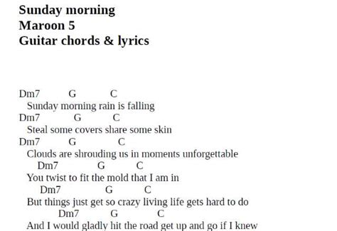 Maroon 5 Sunday Morning Guitar Chords