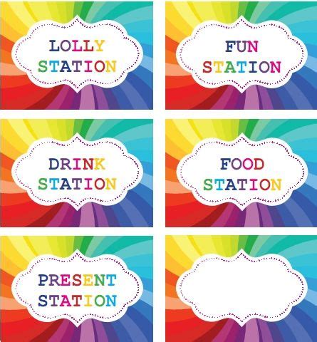printable party labels rainbow party printable labels for table setting rainbow