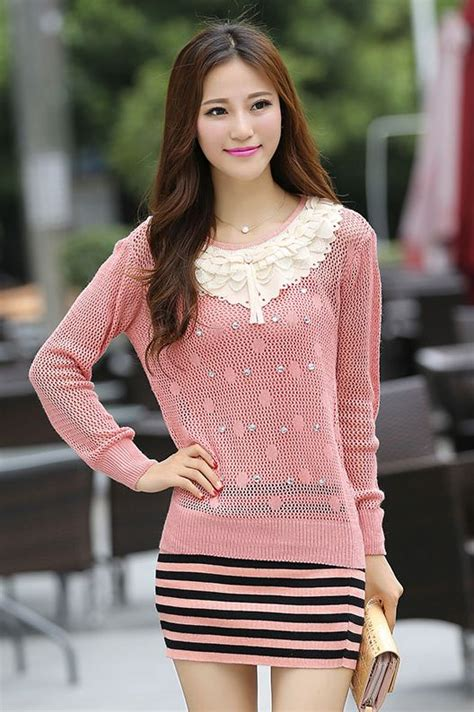 Baju Rajut Wanita Korea Angela Sweater White sweater korea 2pcs knitted sweater jyw859 3color