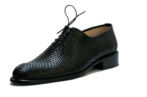 black braided leather shoes