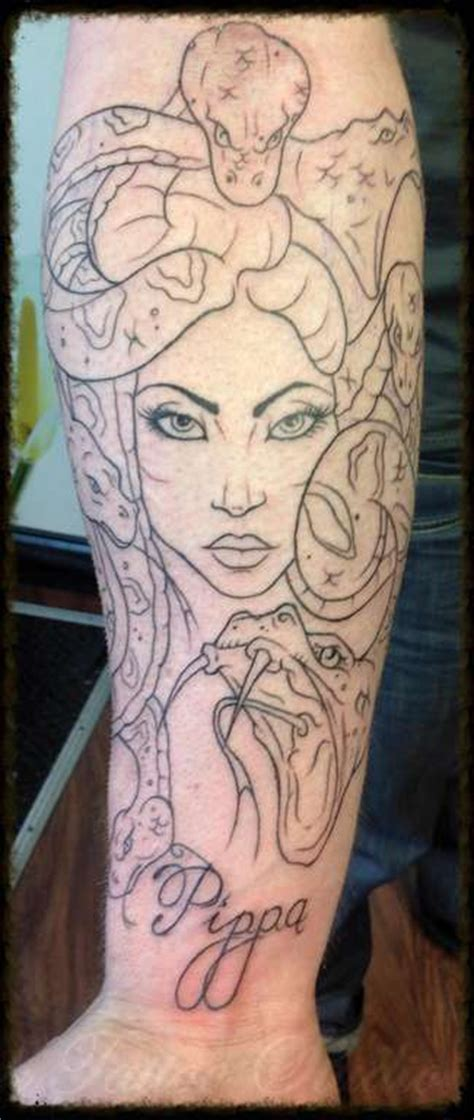 madusa tattoo ronmileyink madusa sleeve mythology outline snakes madusa