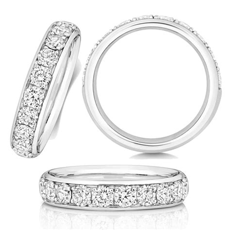 4 2mm platinum grain set wedding ring