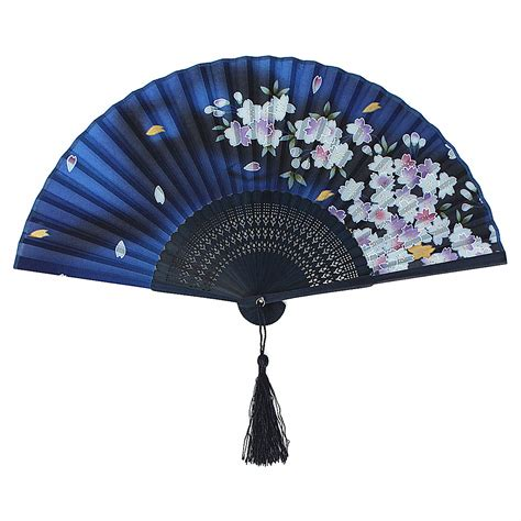 silk folding hand fans handmade vintage chinese folding bamboo silk flower