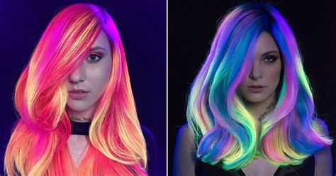 glow in the hair color 9gag on quot glow in the uv light hair is the
