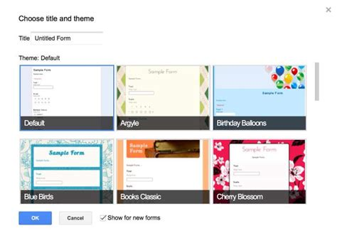 themes in google forms using the google drive form feature as an organizational tool