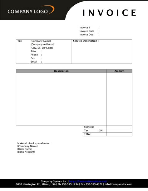 Invoice Template Word 2010 Invoice Exle Free Phlet Template For Microsoft Word