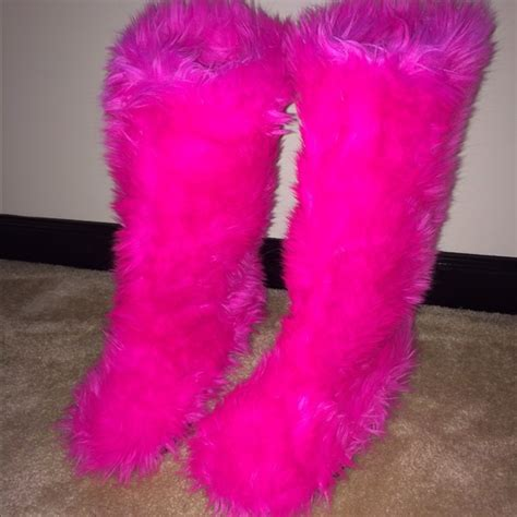 pink fuzzy boots 80 boots pink boots from s
