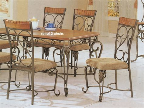 wrought iron dining room chairs wrought iron and wood furniture furniture design ideas