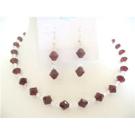 Handcrafted Swarovski Jewelry - swarovski garnetclear crystals bridal bridemaid