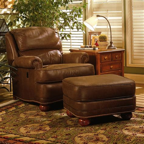 leather recliner chair with ottoman upholstered tilt back reclining chair ottoman by smith