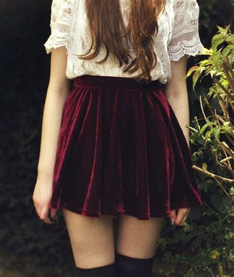 burgundy velvet skirt retro style high waist pleated