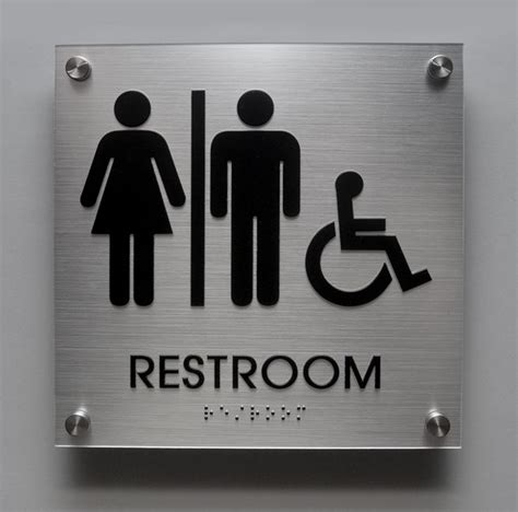 stainless steel bathroom signs brushed aluminum look unisex ada restroom sign with