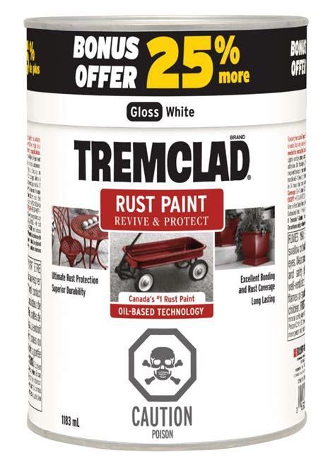 tremclad tremclad rust paint 25 bonus 1183 ml gloss white the home depot canada