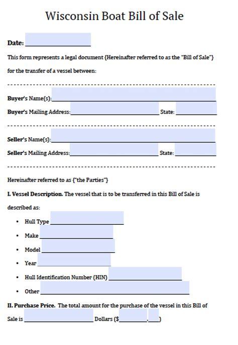 wisconsin boat registration form free wisconsin boat bill of sale form pdf word doc