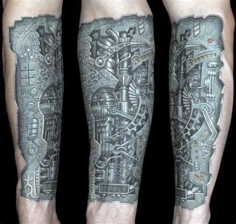 bionic tattoos 50 mechanic tattoos for masculine robotic overhauls