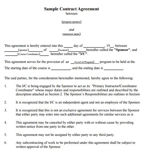 written agreement template 4 free contract between two companies templates word