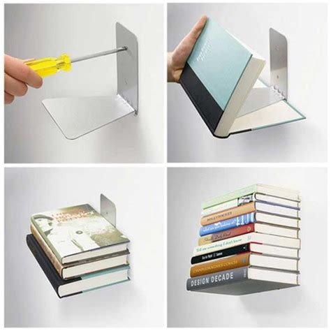 conceal invisible bookshelf in wall mounted shelves