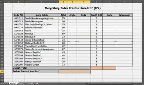 Ipk Indeks Prestasi Kumulatif by Menghitung Indeks Prestasi Kumulatif Ipk Dengan Excel