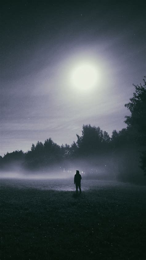 wallpaper  mood full moon foggy hd photography