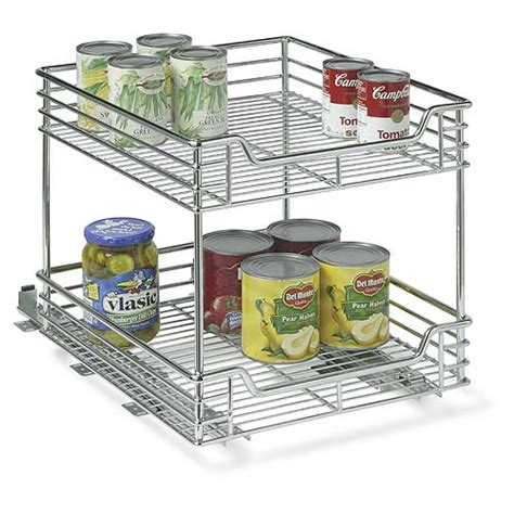 Sliding Cabinet Organizers Kitchen | two tier chrome sliding cabinet organizer in pull out baskets
