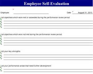 performance evaluation template performance self evaluation template
