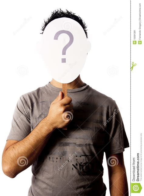 man   question mark mask stock image image