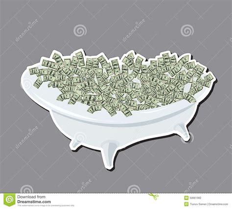 Bathtub Bubble Mat Bath With Money Dollars Wealth And Success Stock Vector
