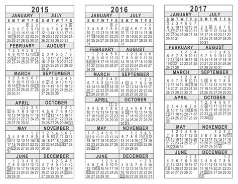 three year calendar template 2015 2016 2017 3 year calendar