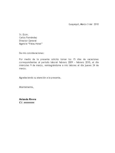 carta para vacaciones