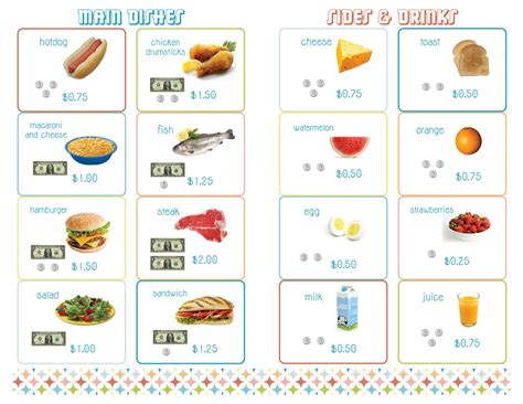 printable play kitchen templates delightful distractions printable menus for a math
